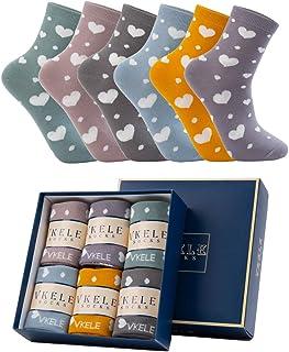 Vkele, Calcetines de mujer caja de regalo de regalo calcetines de corazón calcetines de flores de manzanilla 35-38 39-42 calcetines de niñas hermosas patrón de calcetines de rosa rosa 6 pares de colores