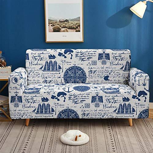 Estiramiento Funda de sofá 2 Plazas 1 Pieza Antideslizante Fundas Impresa para Sofas Sofás Cubre Sofá Ajustable Protector de Muebles 2 Fundas de Almohada Barco De Vela Azul