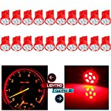 cciyu 194 Extremely Bright LED Bulbs 6-3020-SMD Dashboard Gauge Light Speedometer Odometer Tachometer LED light Wedge T10 168 2825 W5W Red Pack of 20