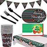 SZWL Desechable de la Fiesta de Navidad, Vajilla Festiva para Fiesta de Navidad, Juego de Decoración Navidad Vajilla Desechable Cumpleaños para Decoraciones de Ducha - 72 Piezas