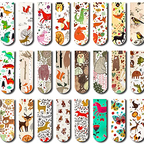 24 PCS Animal Magnetic Bookmarks Cartoon Animal Magnet Page Markers Cute Page Clips Bookmark for Kids, Teens, Students, Teachers