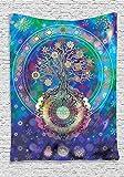 QCWN - Tapiz con diseño de mandala árbol de la vida, estilo étnico y espiritual, para sala de...