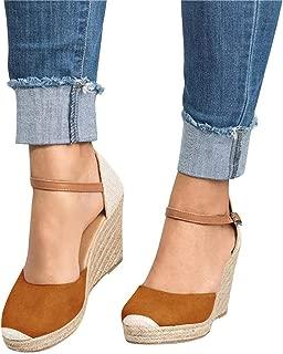 Mafulus Womens Espadrilles Wedge Sandals Closed Toe Ankle Strap Buckle Summer Platform Sandal