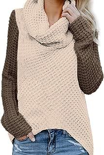 WOCACHI Womens Knit Sweater, Turtleneck Chunky Cowl Neck Button Asymmetric Split Hem Wrap Patchwork Pullover Jumper