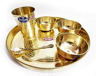 eTextileShop 6 PCs Set Bronze Kansya Thali Katori Bowl Dinner Plate Utensil Hotel Restaurant Dinner Set Thali Set Dinnerware Pure Kansa (Bronze) Thali