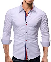 Conversege Men's Autumn Splicing Business Leisure Printing Long-Sleeved Shirt Top Blouse Clothes