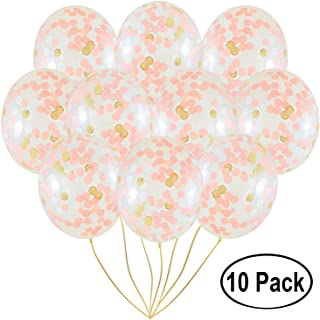 "Amison Rose Gold Confetti Balloons | 10 Pack Large 18"" Rose Gold Foil, Light Pink and White Paper Pre-Filled 