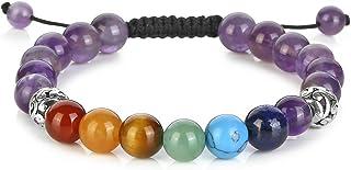 Jovivi 7 Chakras Gemstone Evil Eye Bracelet Lava Stone Essential Oil Diffuser Reiki Healing Balancing Round Beads