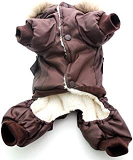 Monster* Dog Clothes Winter Pet Clothes Winter Warm Dog Padded Hooded Jackets Four Legs Jumpsuit Pants Apparel Coats Air Force Size XS-XL 2018