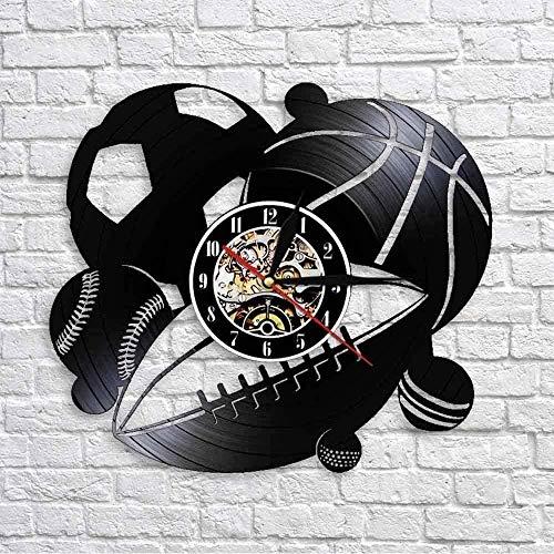 N-P Reloj de Pared de Vinilo Pelota Deportiva Reloj de Pared Dos en uno Decoración del hogar Fútbol Baloncesto Golf Golf Disco de Vinilo Retro Reloj de Pared Regalo Deportivo 12 Pulgadas