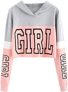 Sudaderas Adolescentes Chicas, Fossen Sudaderas Mujer Tumblr con Capucha - Emoticon Estampado Blusa Tops Camiseta de Manga...
