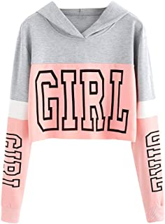Drfoytg Women Fashion Long Sleeve Pullover Girl Print Crop Top Teens Sweatshirt Autumn