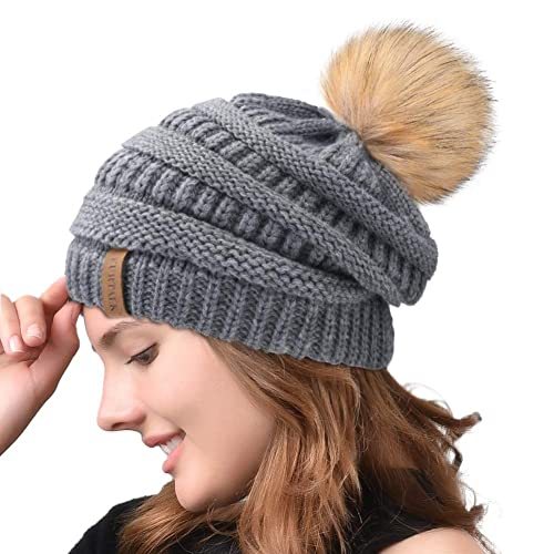 20382eb5ce0 Winter Real Fur Pom Beanie Hat Warm Oversized Chunky Cable Knit Slouch Beanie  Hats for Women