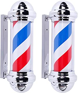 Mefeir 2 Packs 28'' LED Barber Pole Light Classic Style,Hair Salon Barber Shop Open Sign,Rotating Red White Blue LED Strips,IP44 Waterproof Save Energy (28'')
