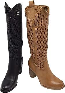Stivali Primaverili Estivi da Donna Tacco Traforati Alti al Ginocchio Biker Moda G627 Nero Camel Estate Nuovi Tacco