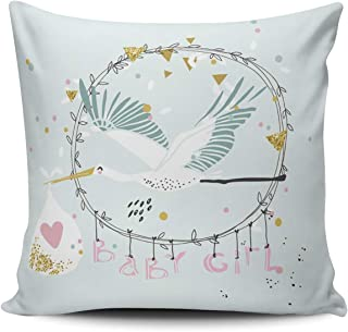 THUONY Pillowcase Home Decorative Baby Girl with Stork 26X26 Inch European Throw Pillow Case Cushion Cover Double Sides Printed (Set of 1)