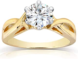Kobelli Round Moissanite Solitaire Engagement Ring 1 CTW 14k Yellow Gold