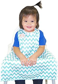 BIB-ON, A New, Full-Coverage Bib and Apron Combination for Infant, Baby, Toddler Ages 0-4+. One Size Fits All! (Teal Chevron)