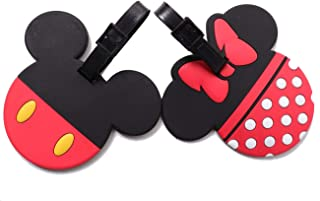 Set of 2 - Super Cute Kawaii Cartoon Silicone Travel Luggage ID Tag for Bags (Mickey and Minnie)