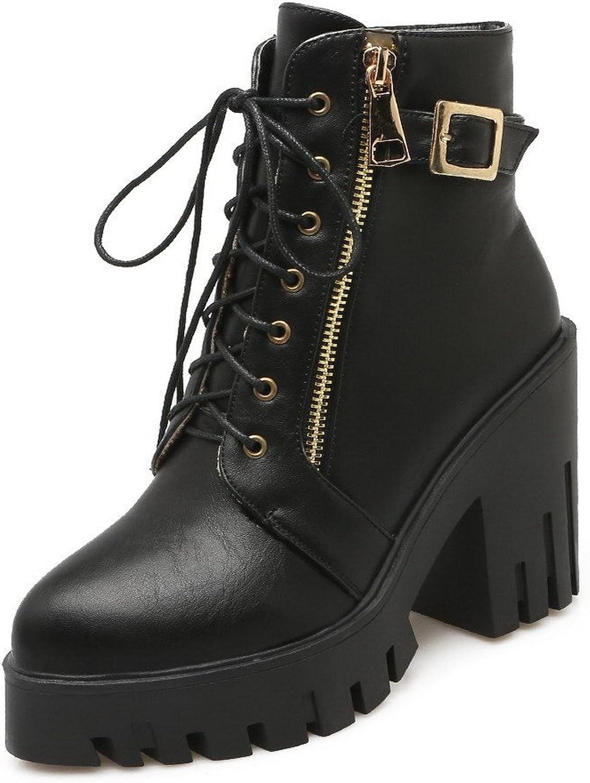 WeiPoot Women's High Heels Low Top Solid Zipper Boots