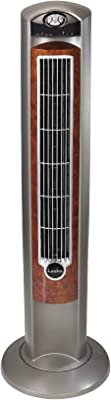 """Lasko Portable Electric 42"""" Oscillating Tower Fan with Nighttime Setting, Timer and Remote Control for Indoor, Bedroom and Home Office Use, Silverwood T42954"""
