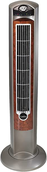 Lasko T42954 Wind Curve Portable Electric Oscillating Stand Up Tower Fan With Remote Control For Indoor Bedroom And Home Office Use Woodgrain 13x13x42 5 Wood