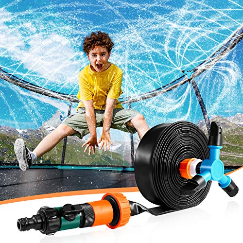 iBaseToy Trampoline Sprinkler for Kids - 39ft Thick Hose Outdoor Play Sprinkler with 360°Auto Rotating Sprinkler, Trampoline Accessories Fun Water-Park Summer Backyard Game Toys for Boys Girls Adults