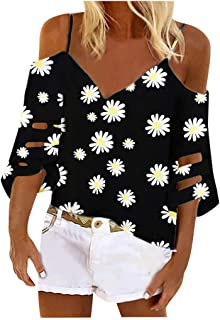 HebeTop Women's Cold Shoulder Daisy Floral Print Loose Shirt Tops 3/4 Bell Mesh Sleeve Blouse