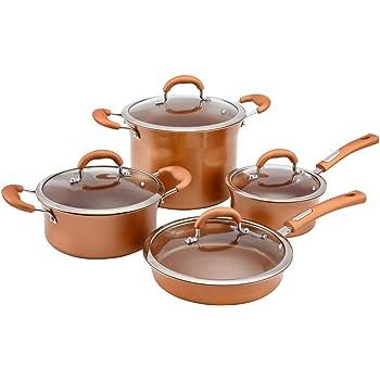 Aramco Hamilton Beach Cookware Set, Aluminum, 8 PC, Copper