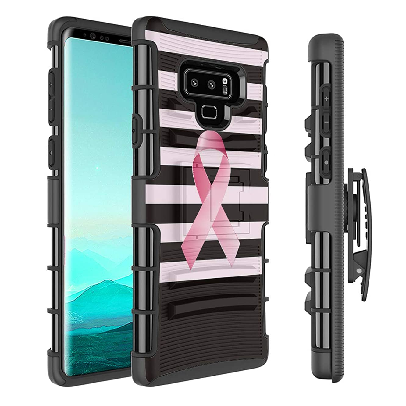 Capsule Case Compatible with Samsung Galaxy Note 9 (2018) [Kickstand Holster Combo Heavy Duty Protection Case Black] - (Breast Cancer Awareness)