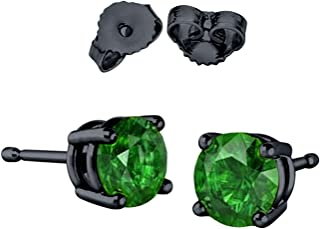 Solitaire Stud Post Earring Round Simulated Green Emerald Black Tone Plated 925 Sterling Silver