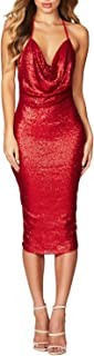 Women's Sequin Glitter V-Neck Backless Crossover Mini Party Club Short Dress