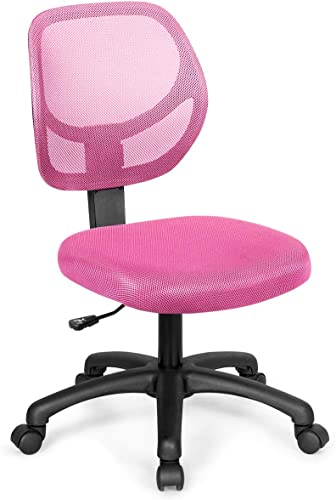 lowest Giantex Small Desk Chair, Low-Back Computer Chair, Armless Task Office Chair with Adjustable Height & Support Lumbar, Upholstered Mesh Swivel discount Chair No Arms popular (Pink) online sale
