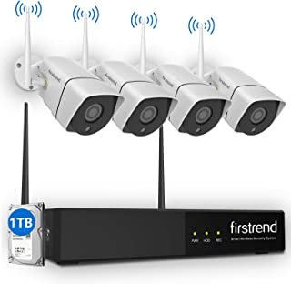 Wireless Security Camera System,Firstrend 8CH 1080P NVR 4PCS HD Night Vision IP Security Surveillance Home Cameras Outdoor Indoor 1TB HDD Installed