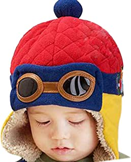 Baby Boys Girls Crochet Earflap Winter Warm Caps Beanie Pilot Aviator Cartoon Hats