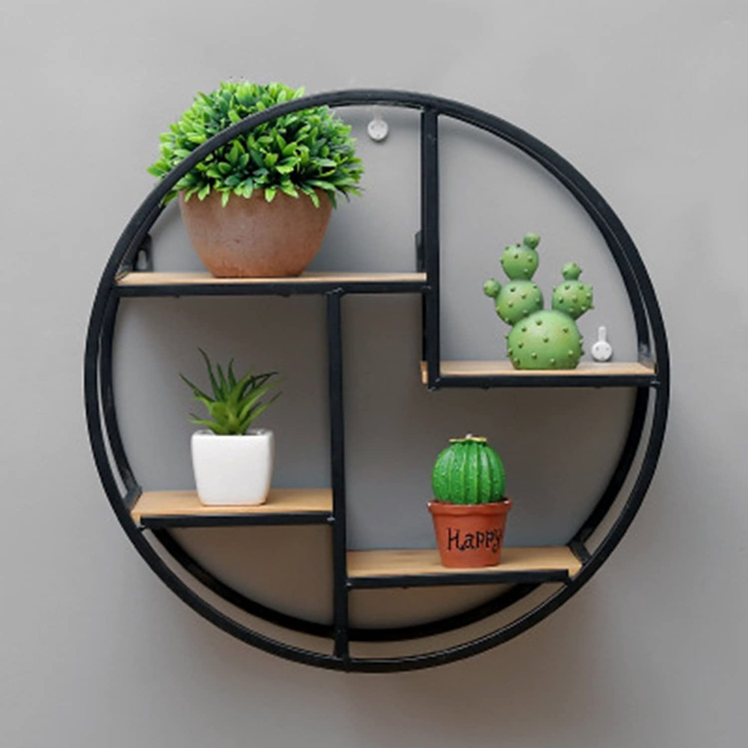 ZHIRONG Wall-Mounted Circular Shelves Vintage Iron + Solid Wood Bookshelf Divided Board Display Stand Living Room Bedroom Wall Decoration 37.5  37.5CM