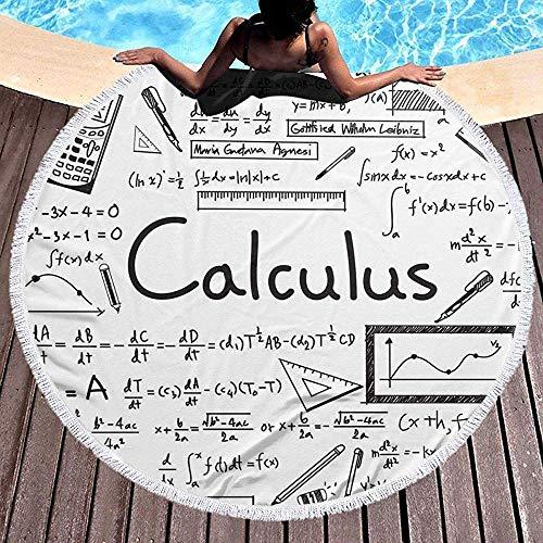 Toalla de Playa Redonda para Mujeres, Geometría matemática Geek Cálculo Hippie Toalla juvenil Feliz Manta a prueba de Arena Estera de Yoga Con borlas