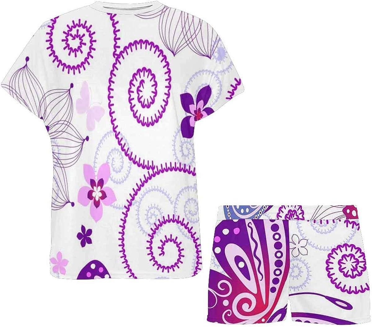 InterestPrint Butterfly Purple Women Sleepwear Short Sleeves Pajama Sets