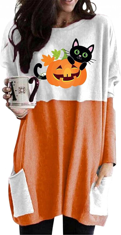 felwors Halloween Sweatshirt for Women, Womens Tops with Pocket Pumpkin Print Shirts Oversized Casual Long Sleeve Tunic