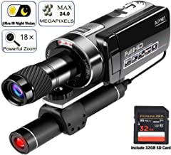 Aliynet Camcorder Digital Video Camera,Night Vision Camcorder Observing Distance up to 100m/330ft,1080P 18X Digital Zoom with Monocular Telescope for Hunting Observe,Outdoors Trip(Include 32GB Card)
