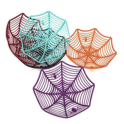 5PCS Spider Web Candy Bowls Plastic Basket Bowls for Halloween Parties (5PCS in 5 Colors)