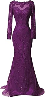 Women's Beaded Appliques Satin Evening Party Gown Long Sleeve Mermaid Lace Prom Dresses