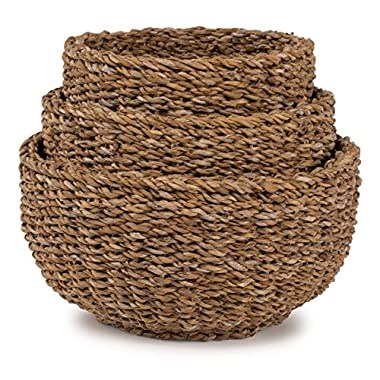 Seagrass Nested Round Roll Baskets, Set of 3 - Lg=13.5 D 7.5 H