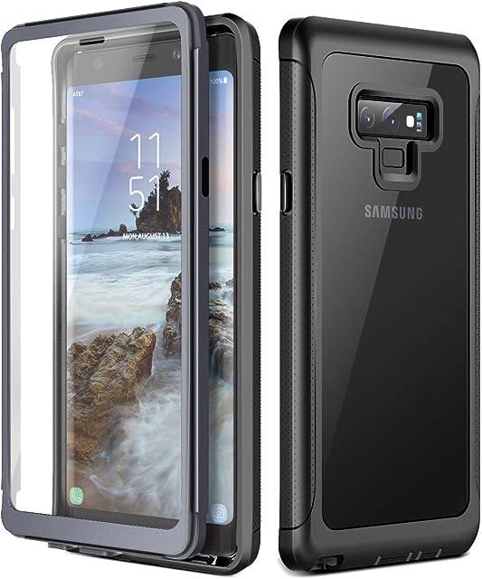 Prologfer Funda para Samsung Galaxy Note 9 360 Grados Transparente Carcasa Resistente con Protector de Pantalla incorporada Prueba de Golpes y Suciedad Cover para Samsung Galaxy Note 9 Negro