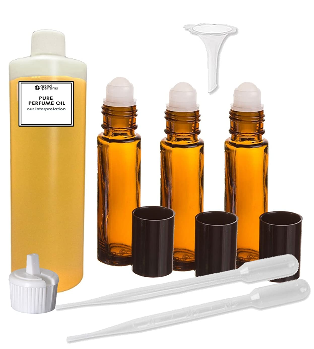 Grand Parfums Perfume Oil Set - Egyptian Musk Body Oil Scented Fragrance Oil - Our Interpretation, with Roll On Bottles and Tools to Fill Them (4 Oz)