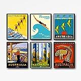 WallBuddy Reiseposter-Set, 6 australische Vintage-Poster,