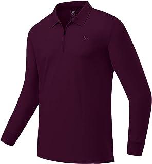 JINSHI Men's Golf Shirt Polo Shirts Long Sleeve Sport Shirts 1/4 Zip Pullover Running Shirts