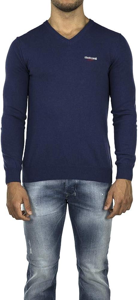 Roberto cavalli sport, maglione girocollo con logo per uomo,50% poliammide, 40% viscosa, 10% lana 192690_620901