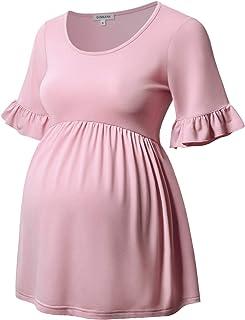 GINKANA Women's Maternity Tops Short Sleeve Maternity Smock Top Tee T-Shirt for Pregnant