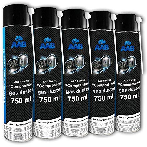 AAB Druckluft-Reiniger 5 x 750ml, Reinigungspray, Für Tastatur, PC, Keyboard, Bildschirmen, Spielekonsolen, Kopierer, Computergehäuse, Air Duster, Luft-druck, PC Reinigung, Luftdruckspray